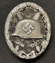 WW2 Third Reich Verwundetenabzeichen im Schwarz 1939 Wound Badge in Black 1939. Brass hinge and