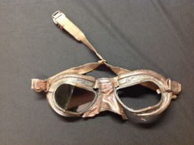 WW2 British RAF MKVIII Flying goggles. Missing one lens and adjustment bar to bridge of the nose.