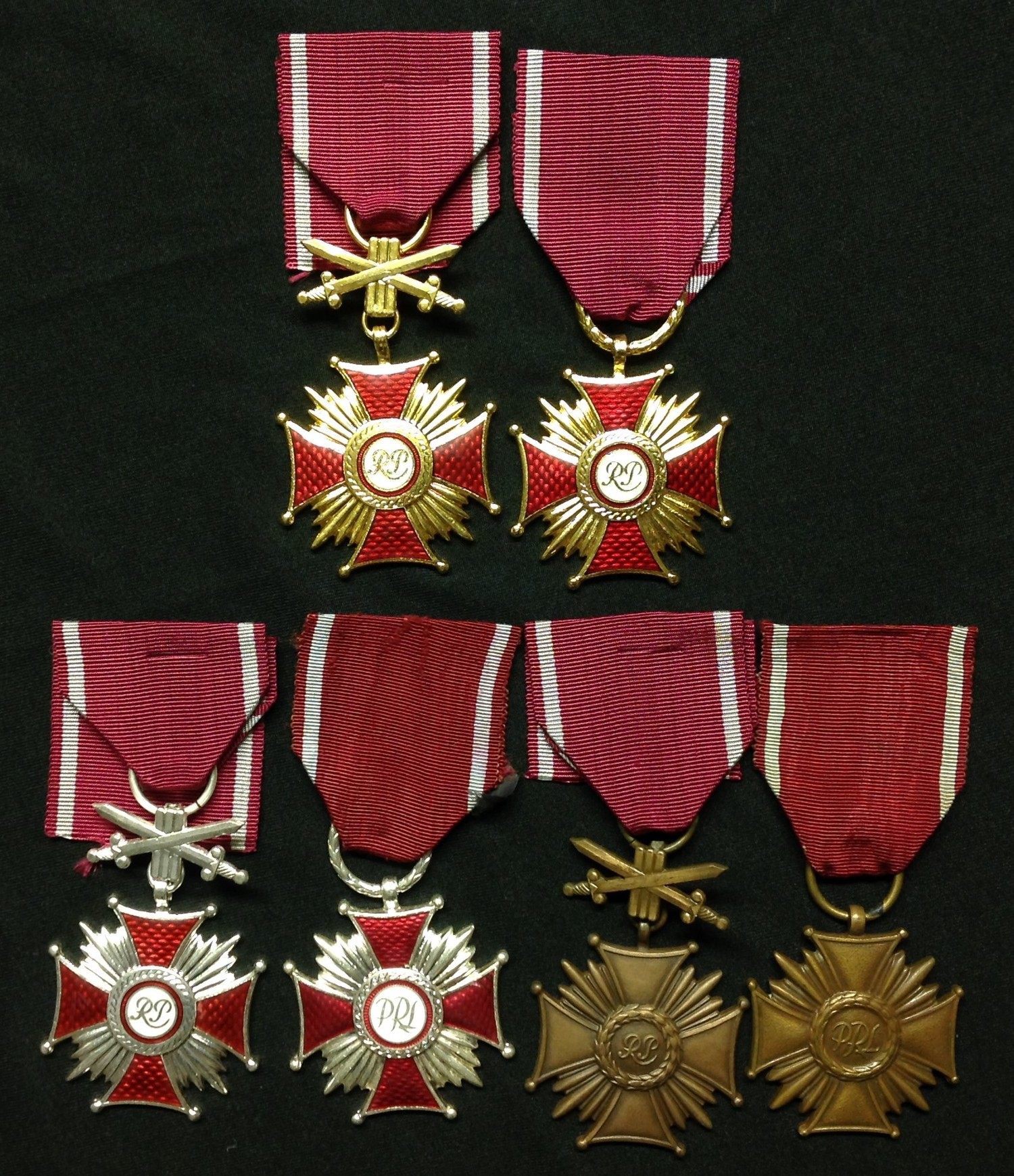 Polish Cross of Merit Medals collection: 1st class without Swords: 1st Class with Swords: 2nd