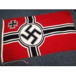 """WW2 Third Reich Reichskreigsflag size 150cm x 250cm. Maker marked """"Textilindustrie G. Bukiet,"""