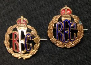 WW1 British Royal Flying Corps Sweethearts. A pair of RFC sweethearts based on an officers collar