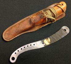 WW2 British RAF Aircrew Survival Dinghy Knife. 113mm long blade marked 27C/2023. Orange grip with
