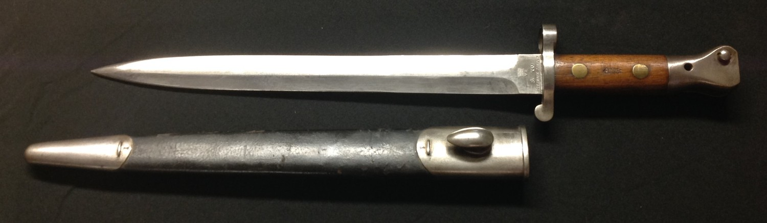 """British 1888 pattern Lee Metford bayonet. Double edged blade 302mm in length, maker marked """""""