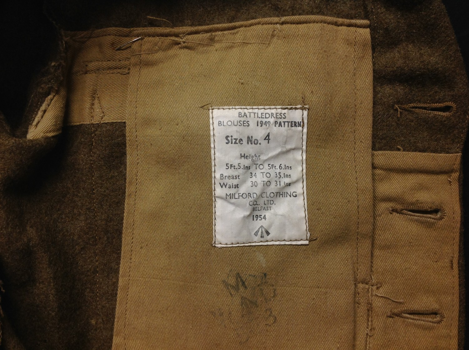British Army Staffordshire Regiment 1949 Pattern Captains Battledress Blouse. Complete with all - Image 4 of 8