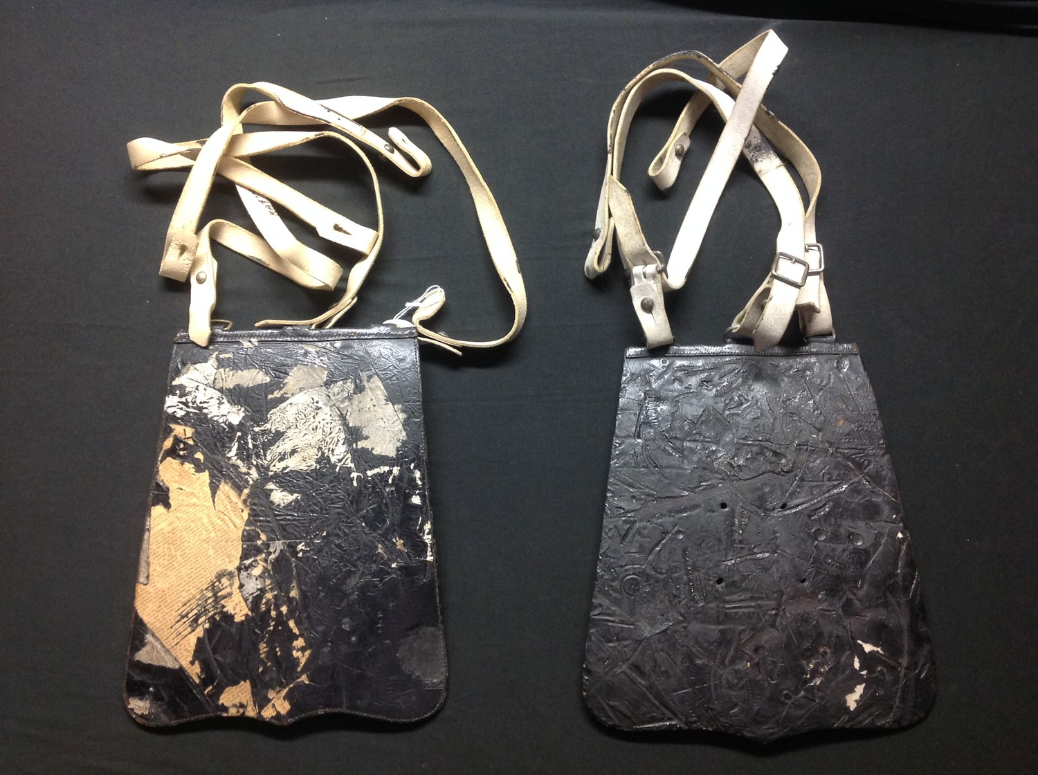 Pair of Victorian Cavalry Officers Sabretashes. Both have three white leather straps attatched. No