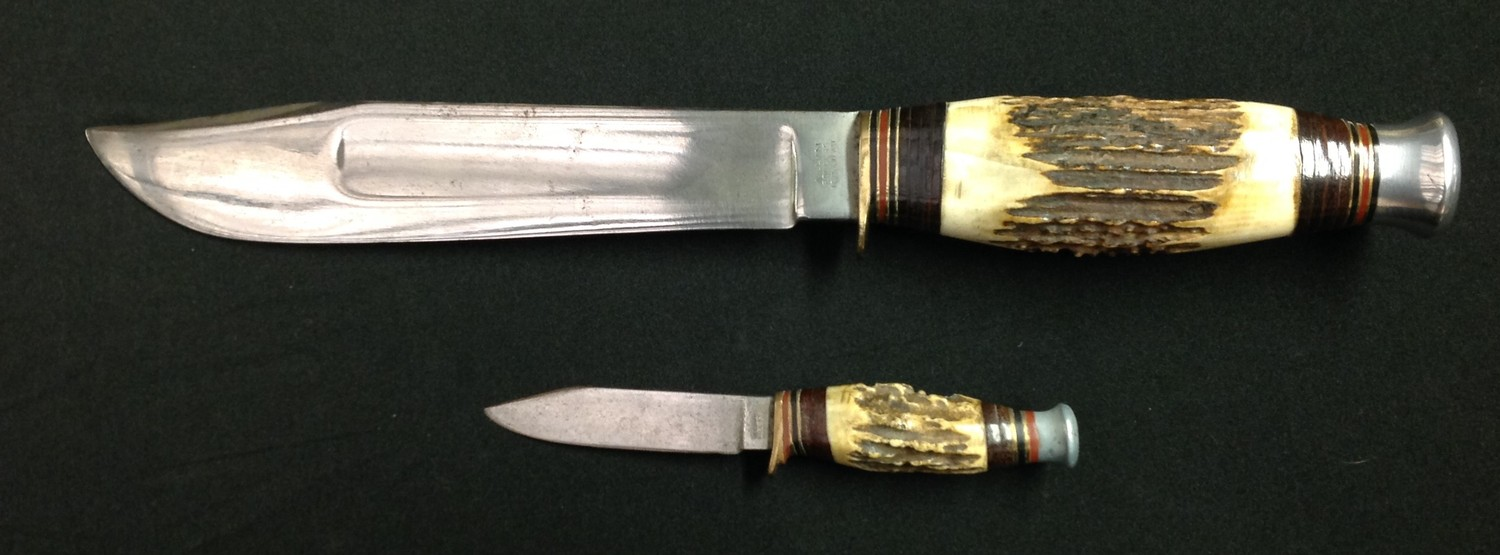 """Hunting Knife with Bowie style blade with fuller 199mm in length maker marked """"William Rodgers I Cut"""