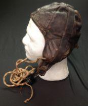 "WW2 RAAF Australian Pattern Leather Flying Helmet. Similar to the RAF B type. Makers label ""Lasicas,"