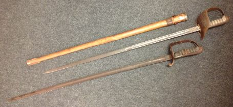 WW2 British Army Officers 1897 pattern sword with single edged fullered blade with Proof mark and
