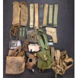 WW2 British 1937 Pattern Webbing collection comprising of: a pair of Lanchester SMG Pouches, both