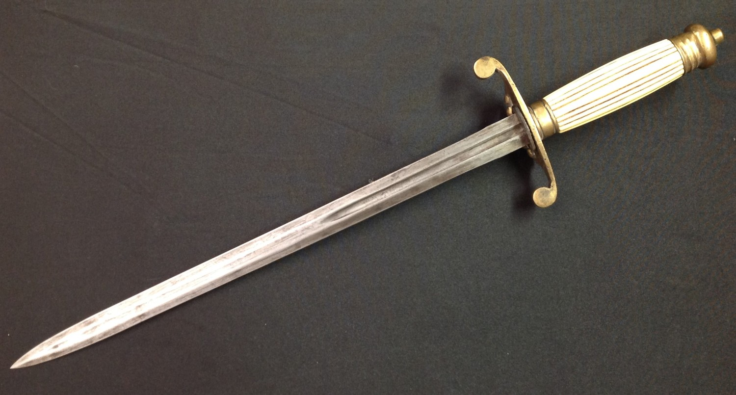 REPRODUCTION Georgian era Royal Navy Dirk with double edged fullered blade 350mm in length. - Image 7 of 11