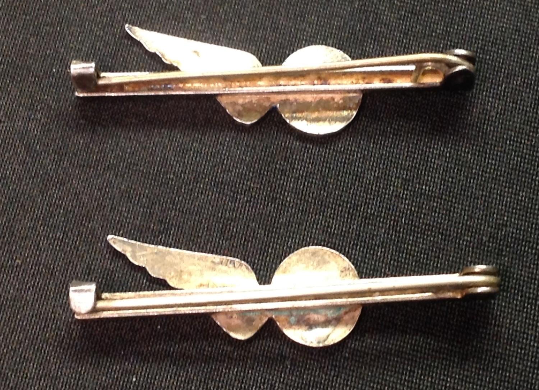 WW2 British RAF Sweetheart Brevette Half Wing tie pins: Both is dark blue enamel, one for Engineer - Image 2 of 4