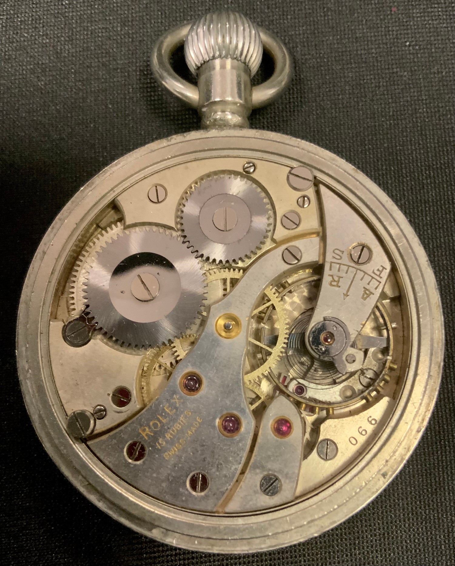 WW2 'Military' style private purchase Rolex A10030 open faced pocket watch, black enamel dial gold - Image 2 of 10
