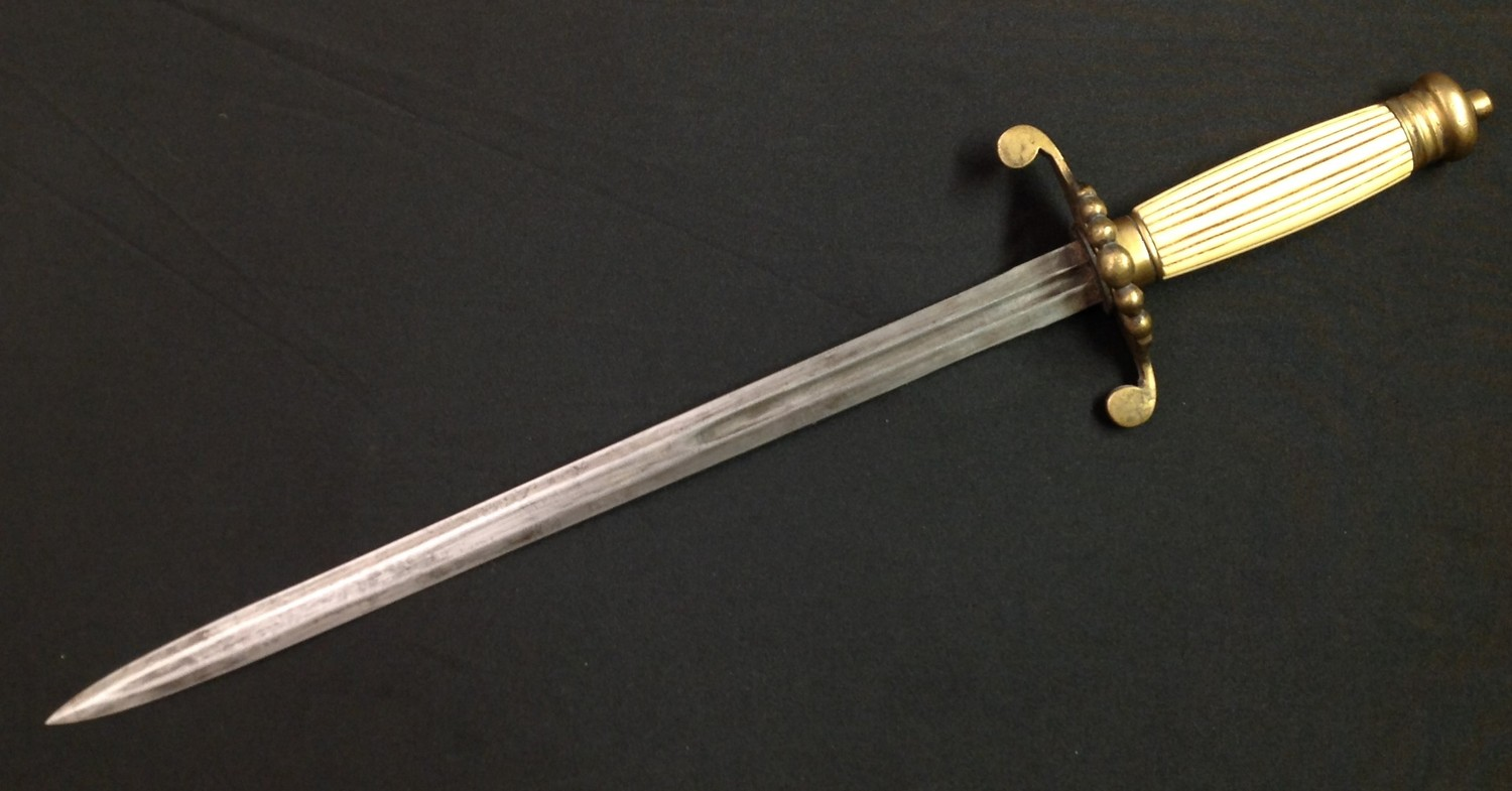 REPRODUCTION Georgian era Royal Navy Dirk with double edged fullered blade 350mm in length. - Image 6 of 11