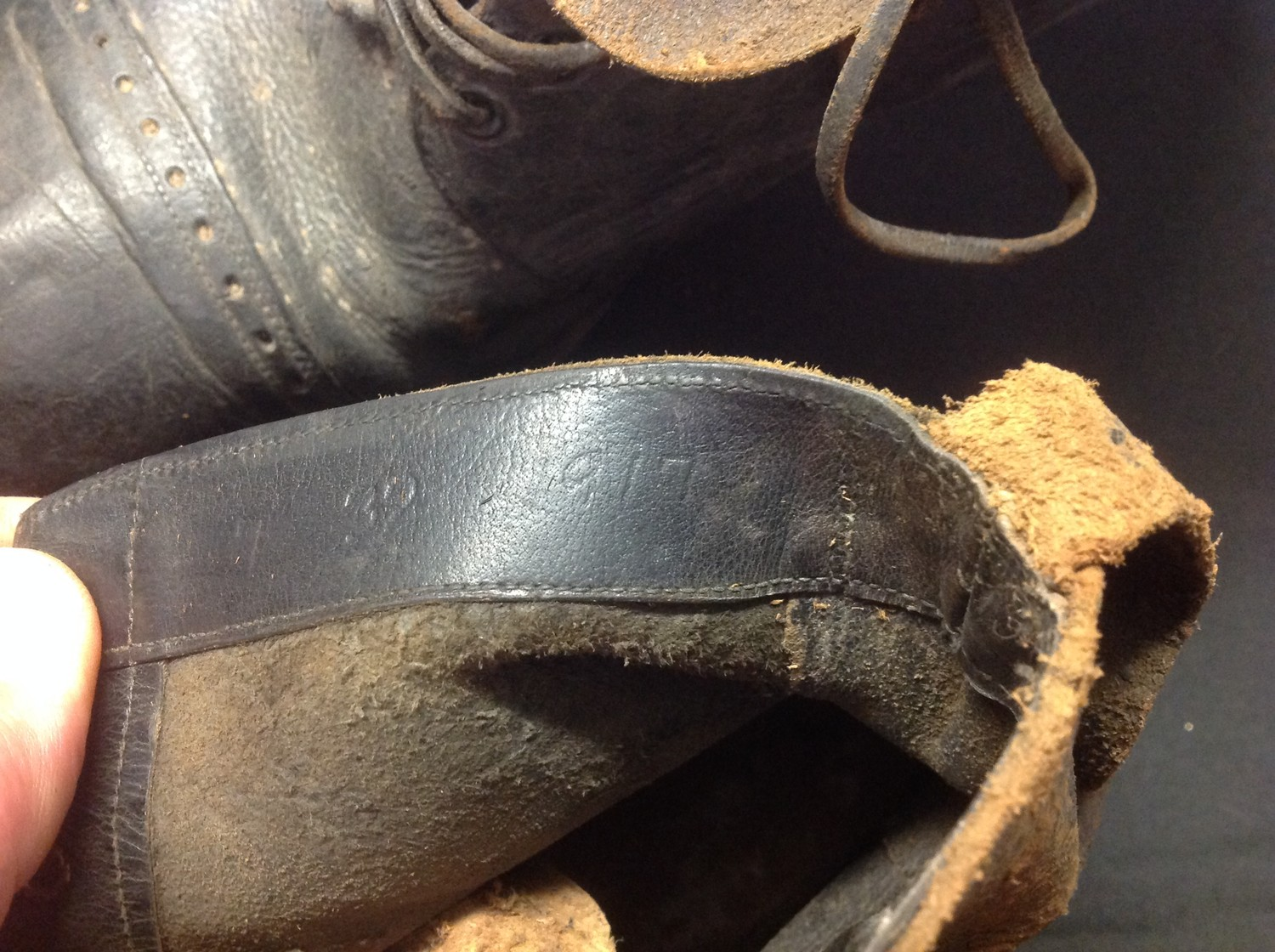 """A pair of black leather lace up ankle boots. Marked to the inside on both boots """"7 32 1917"""". Soles - Image 6 of 7"""