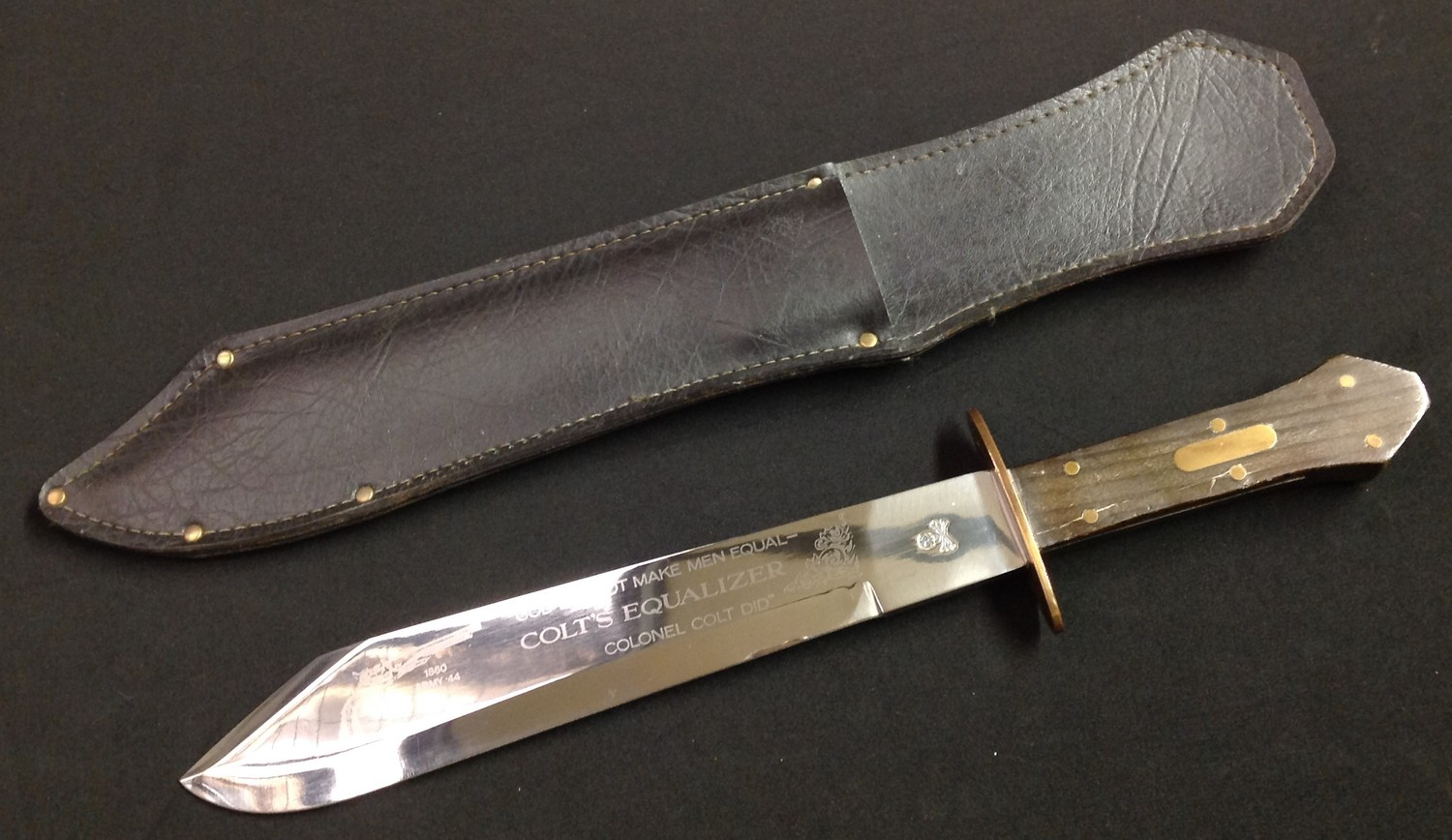 Bowie Knife with 266mm long blade with a die stamped Skull & Crossbones to the ricasso and an etched