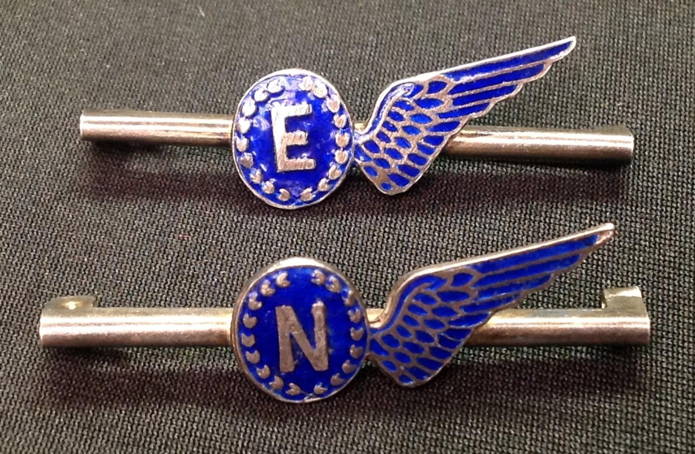WW2 British RAF Sweetheart Brevette Half Wing tie pins: Both is dark blue enamel, one for Engineer