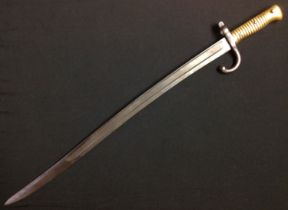 French 1866 pattern Chassepot bayonet with fullered single edged blade 571mm in length. No