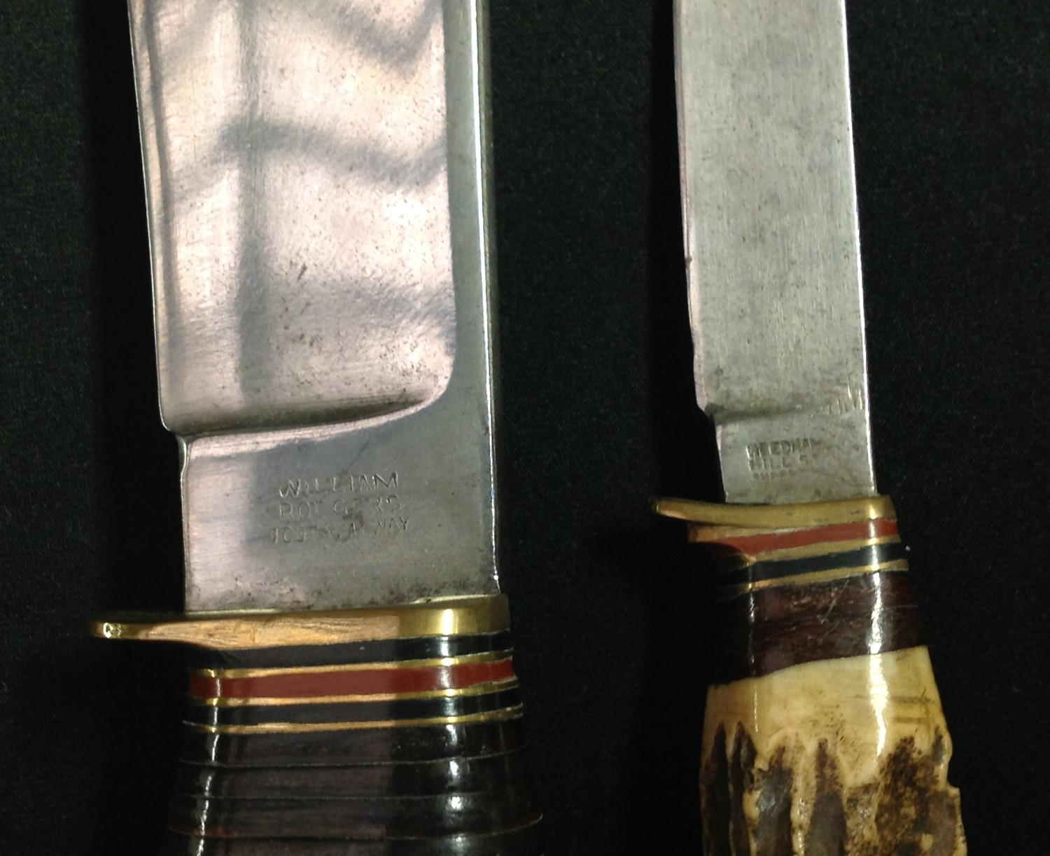 """Hunting Knife with Bowie style blade with fuller 199mm in length maker marked """"William Rodgers I Cut - Image 4 of 5"""