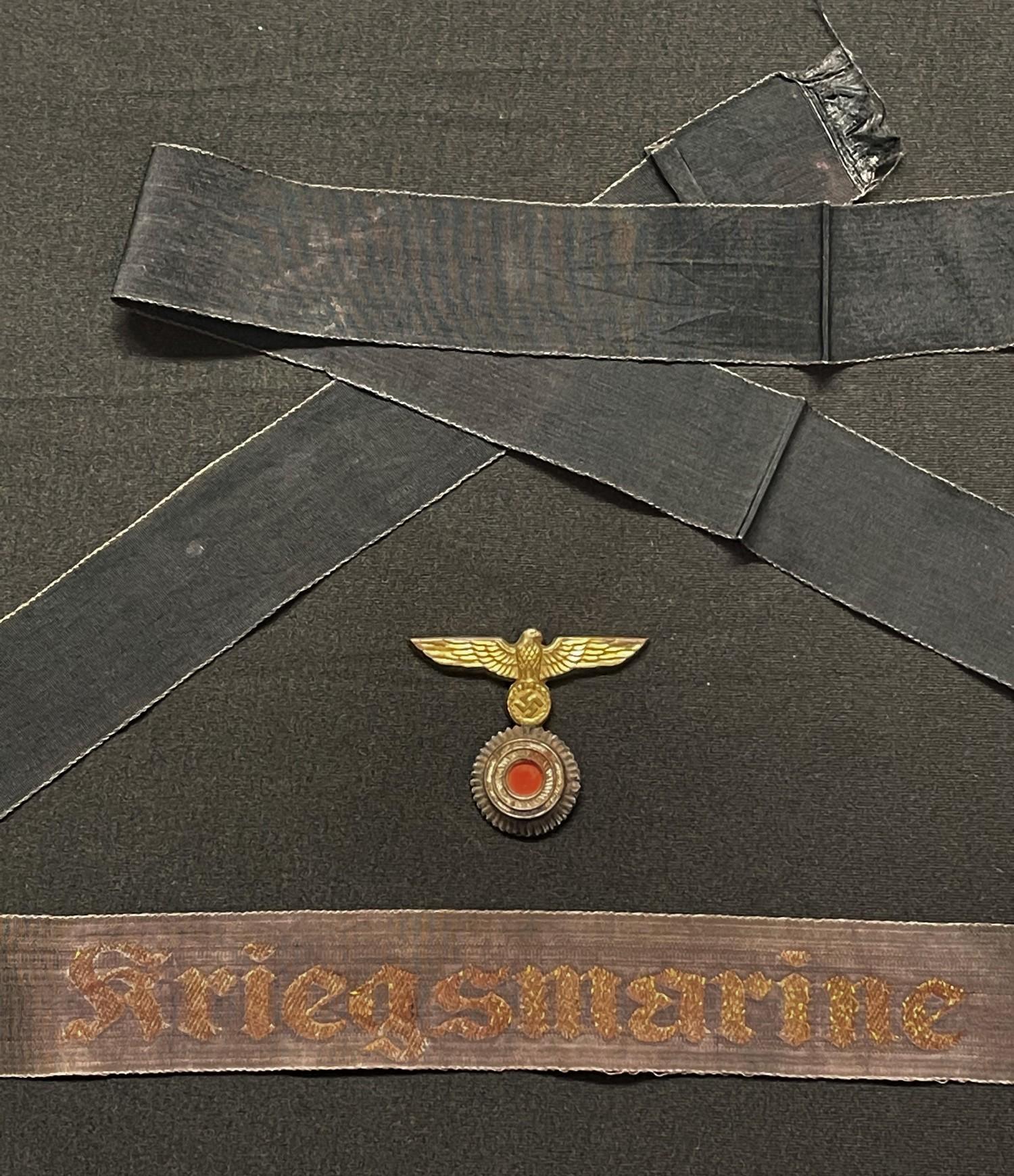 WW2 Third Reich Kriegsmarine cap tally in wire thread, overall length 139cm, has been worn on a cap,