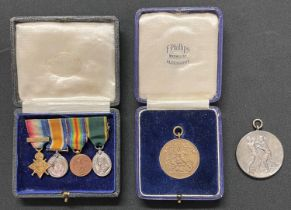 WW1 British miniature medal group comprising of 1914 Star with clasp, War Medal, Victory Medal and