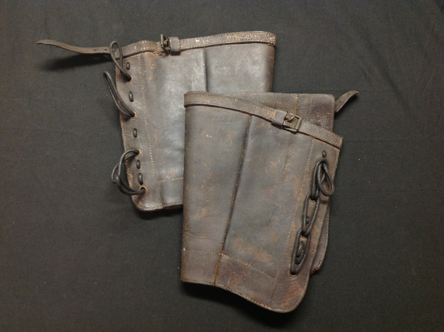 Victorian Boer War British Army Leather Gaitors dated 1892. Complete with laces. Both have unit
