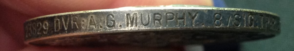 WW1 British Military Medal complete with ribbon re-named to 23829 Dvr. A G Murphy, 8/Sig Tp, RE. - Image 3 of 3