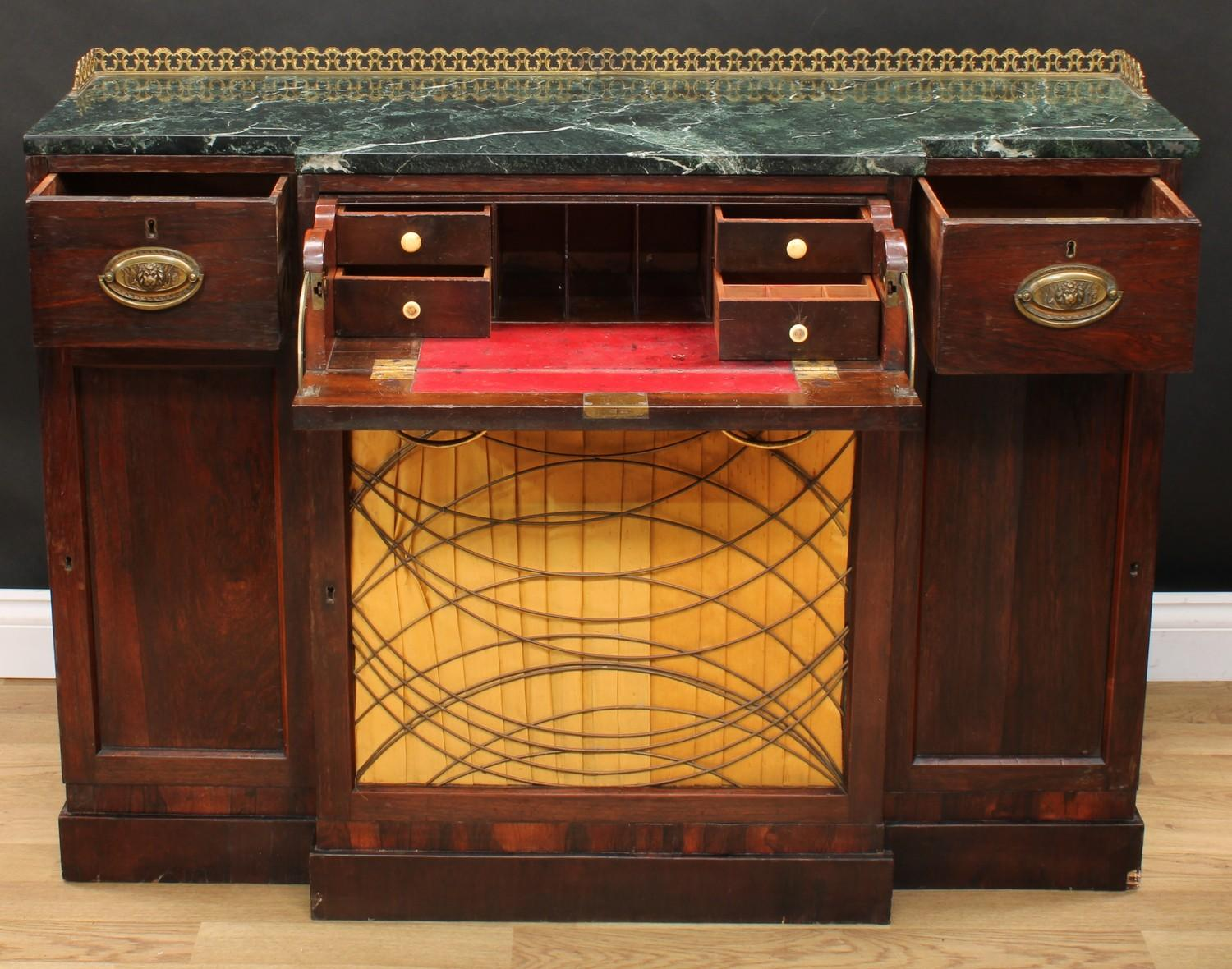 A 'Regency' rosewood break-centre secretaire side cabinet, verde antico marble top with three- - Image 3 of 7