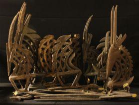 Tribal Art - a collection of Bamana chi wara antelope headdresses, various, many fragmentary (qty)