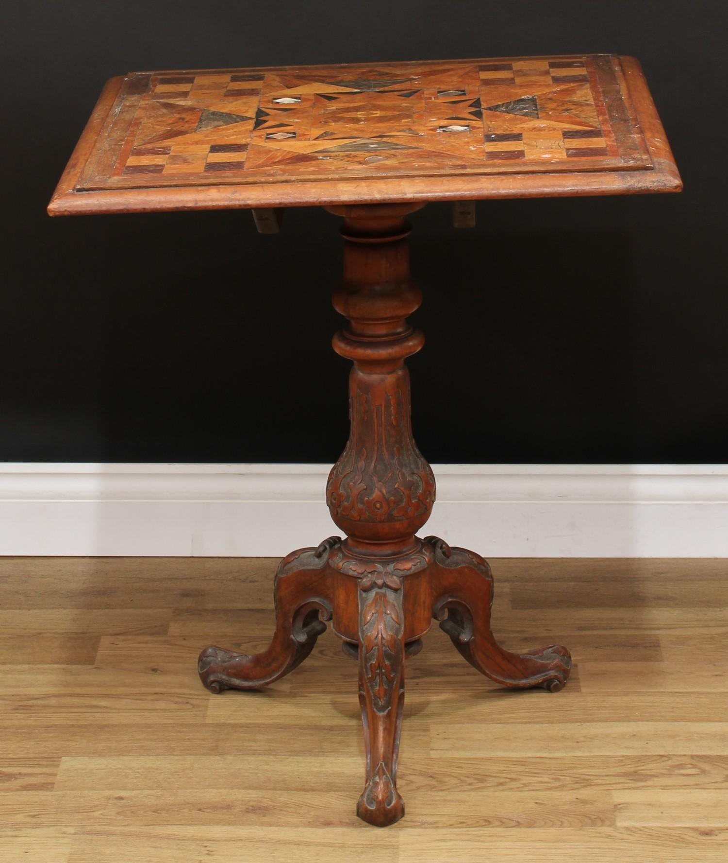 A Victorian parquetry occasional table, near-square top with moulded edge inlaid with geometric