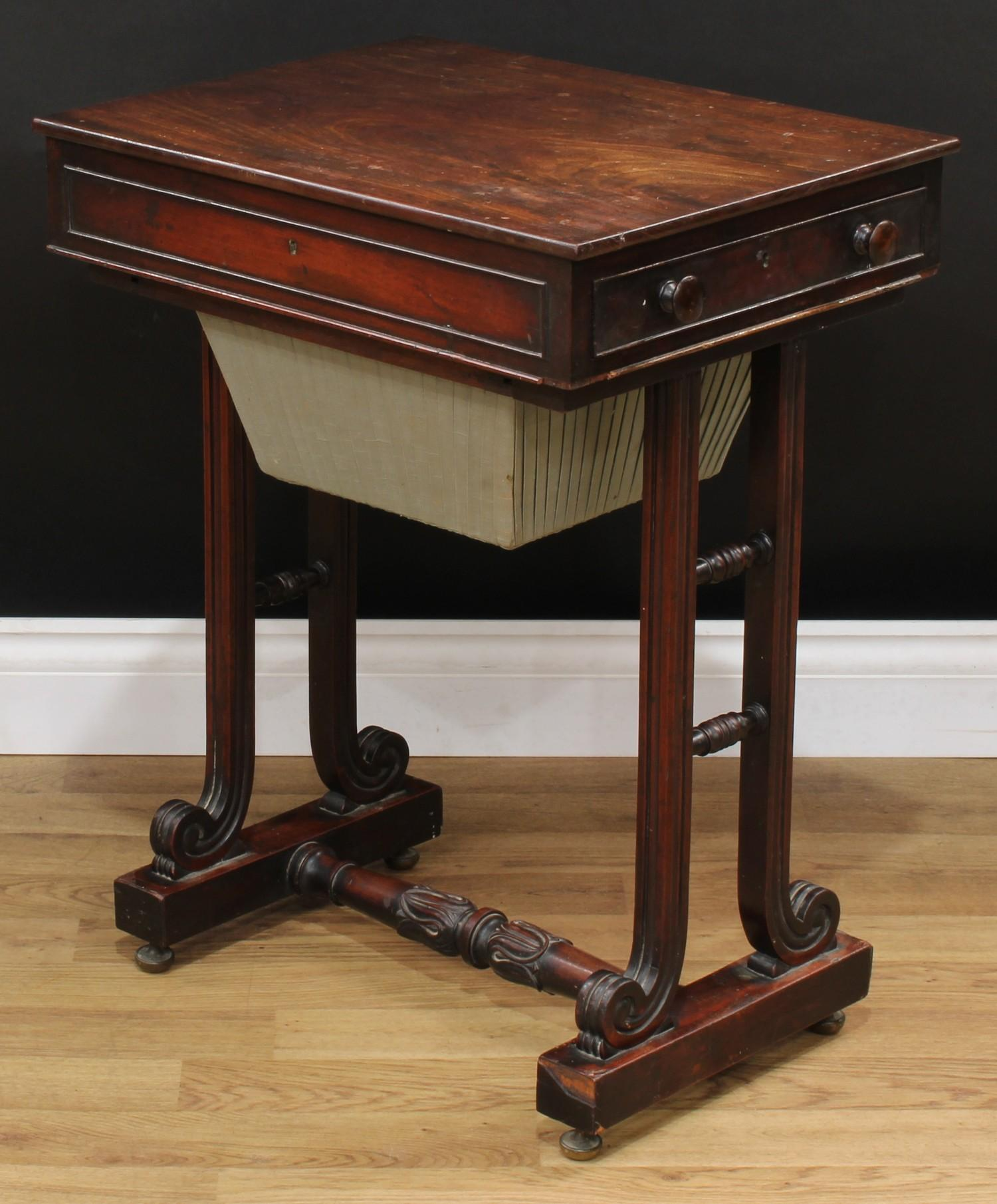 A William IV mahogany work table, rectangular top above a frieze drawer and a sarcophagus shaped - Image 7 of 7