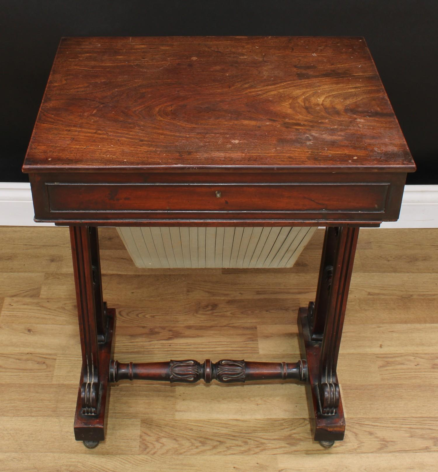 A William IV mahogany work table, rectangular top above a frieze drawer and a sarcophagus shaped - Image 2 of 7