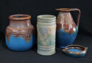 Denby Orient Ware pattern vases; a Denby pastel vase (4)