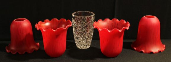 Four Christopher Wray red glass light shades; a cut glass vase (5)