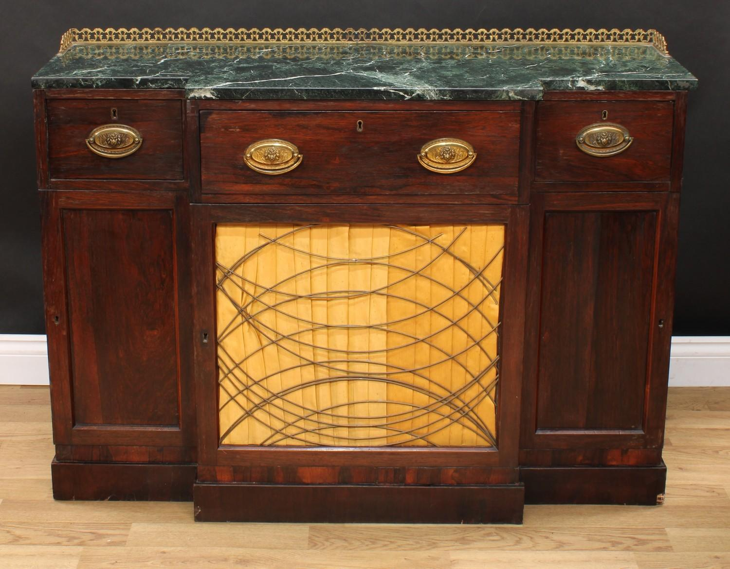 A 'Regency' rosewood break-centre secretaire side cabinet, verde antico marble top with three- - Image 2 of 7