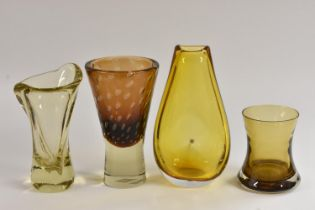 A Bohemian Harrachov Glassworks conical vase, designed by Milan Metelak, brown tinted with bubble