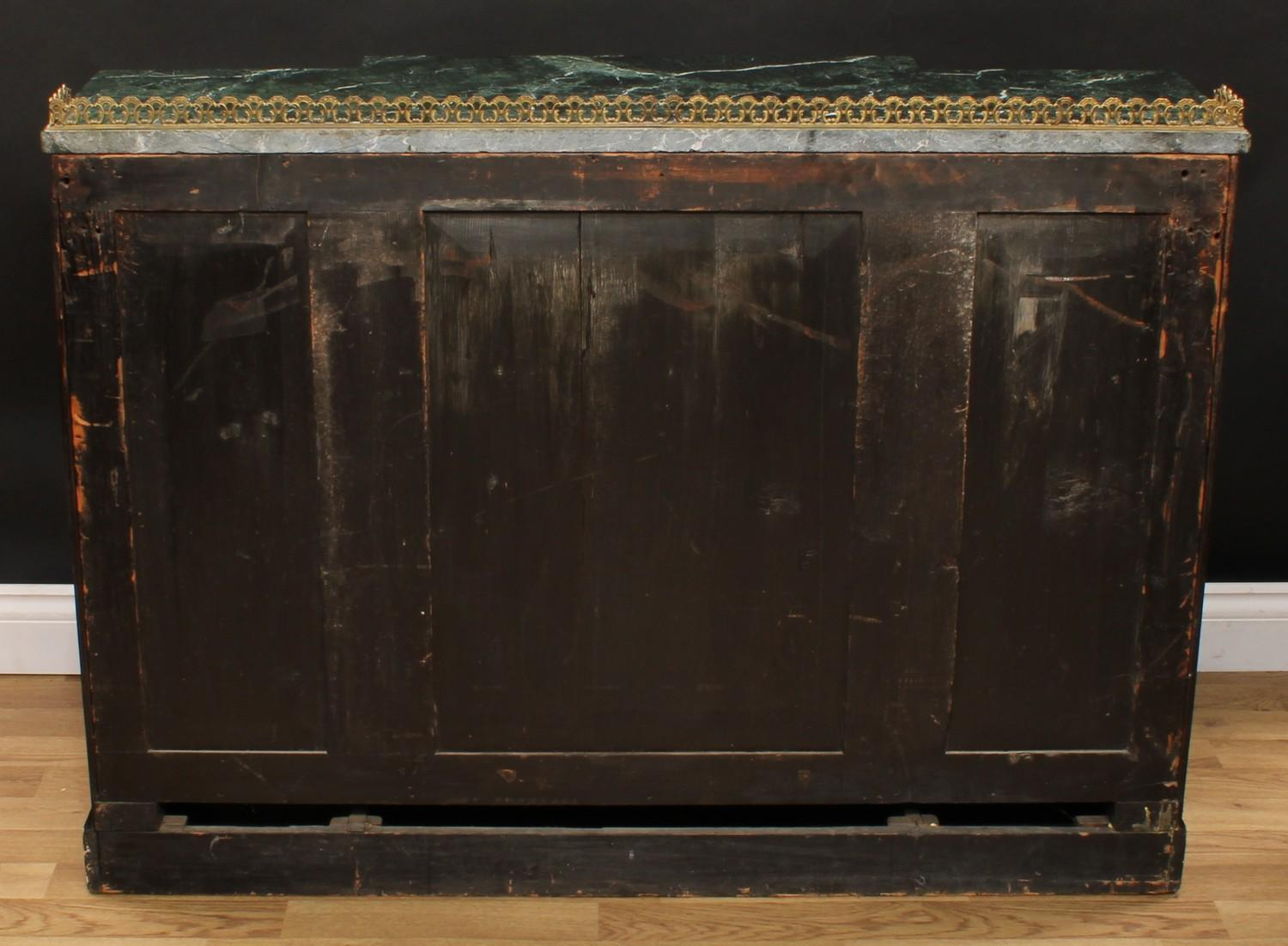A 'Regency' rosewood break-centre secretaire side cabinet, verde antico marble top with three- - Image 7 of 7