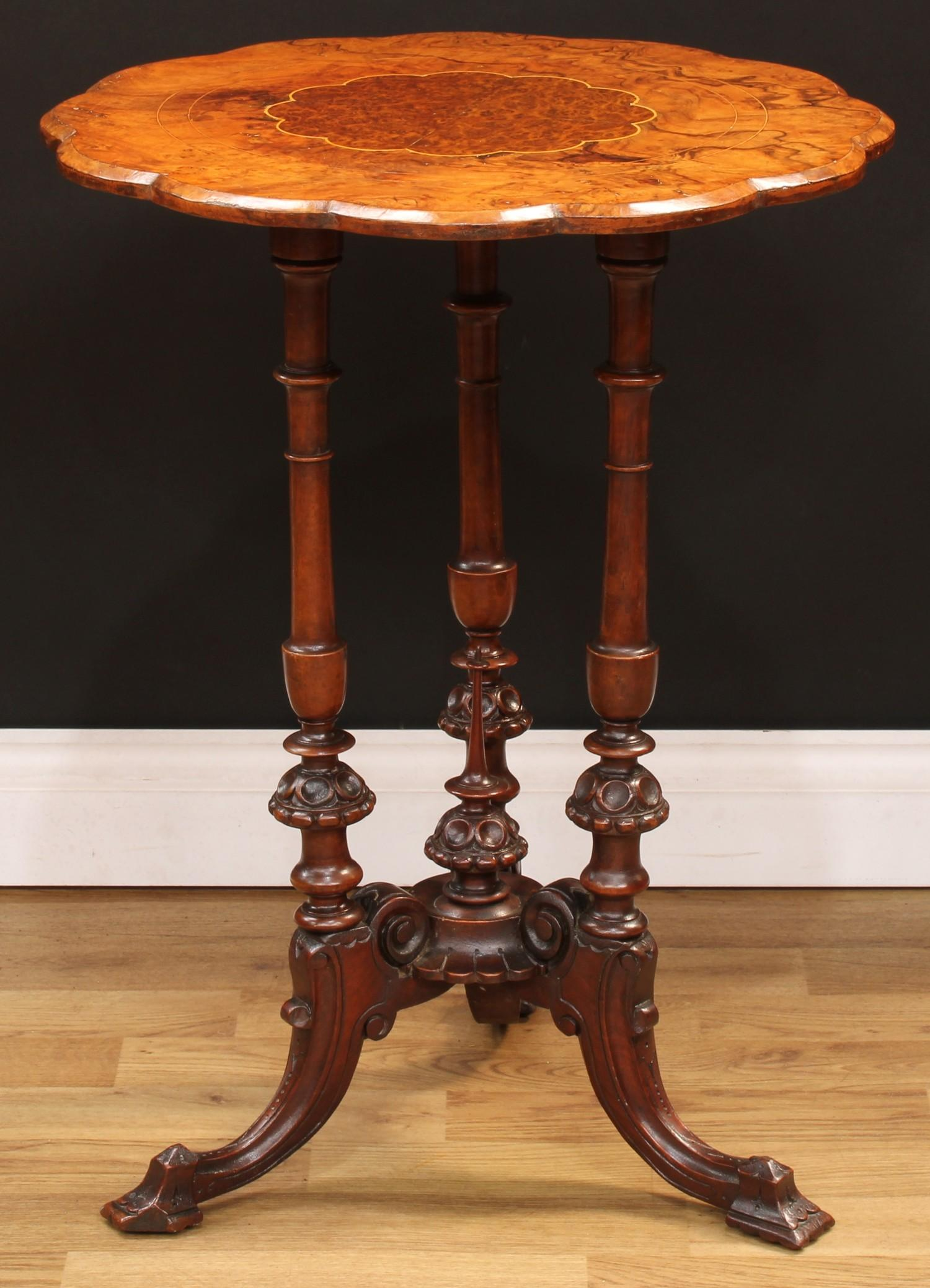 A Victorian walnut and mahogany wine table, rounded dodecagonal top centred by a conforming burr - Image 3 of 3