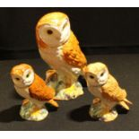 A large Beswick Barn Owl, 1046, 18cm high; another two smaller (3)
