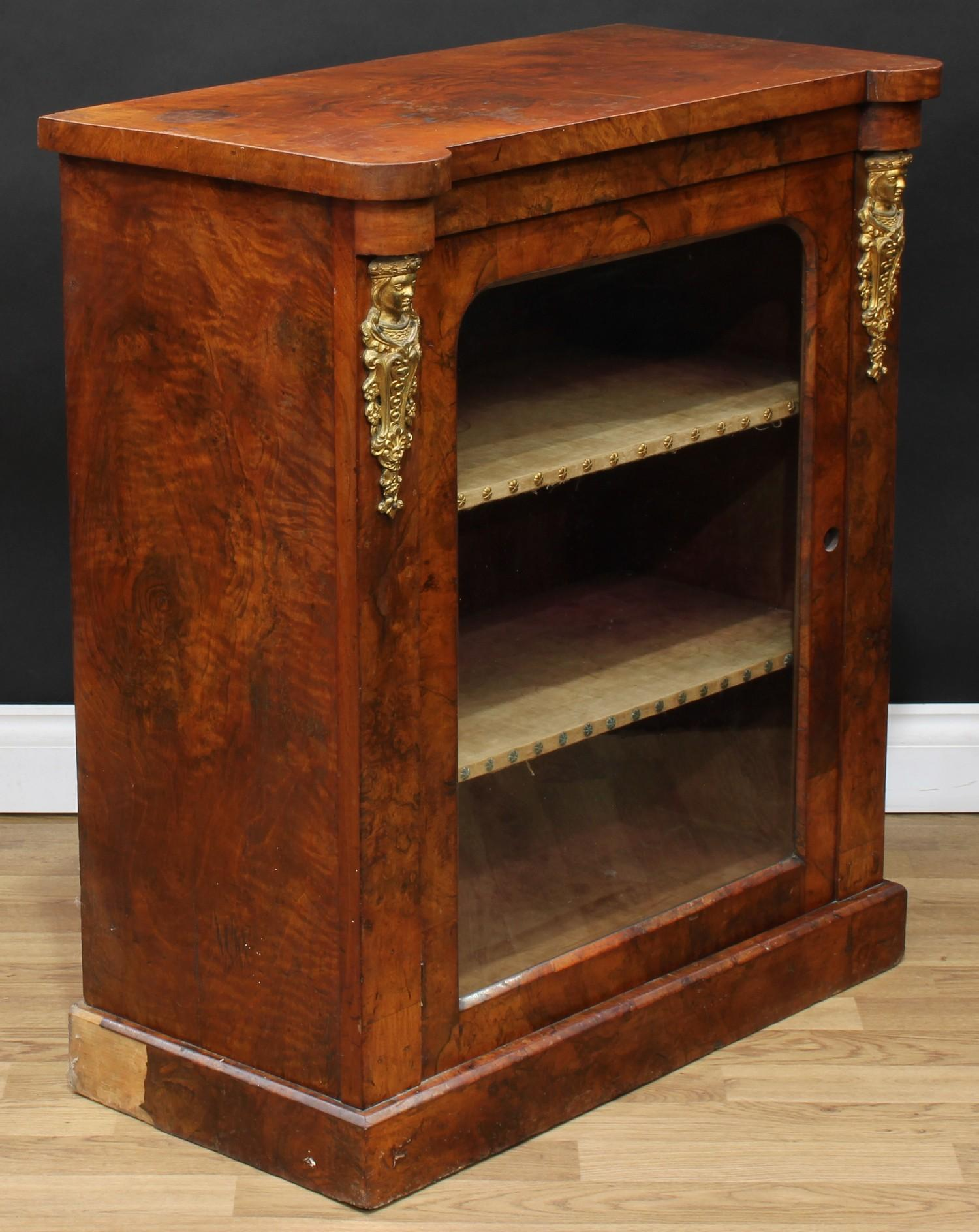 A Victorian gilt metal mounted walnut pier display cabinet or bookcase, hipped rectangular top above - Image 3 of 4