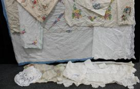 Textiles - hand embroidered linen tablecloths, including Crinoline Lady, others; Mary Card lace