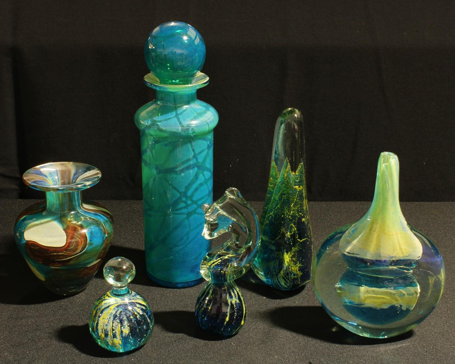 Art Glass - a Mdina glass cylindrical vase with stopper, 29cm high; another, 'lollipop' vase;