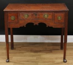 A George III mahogany crossbanded oak lowboy, rectangular top with moulded edge above three frieze