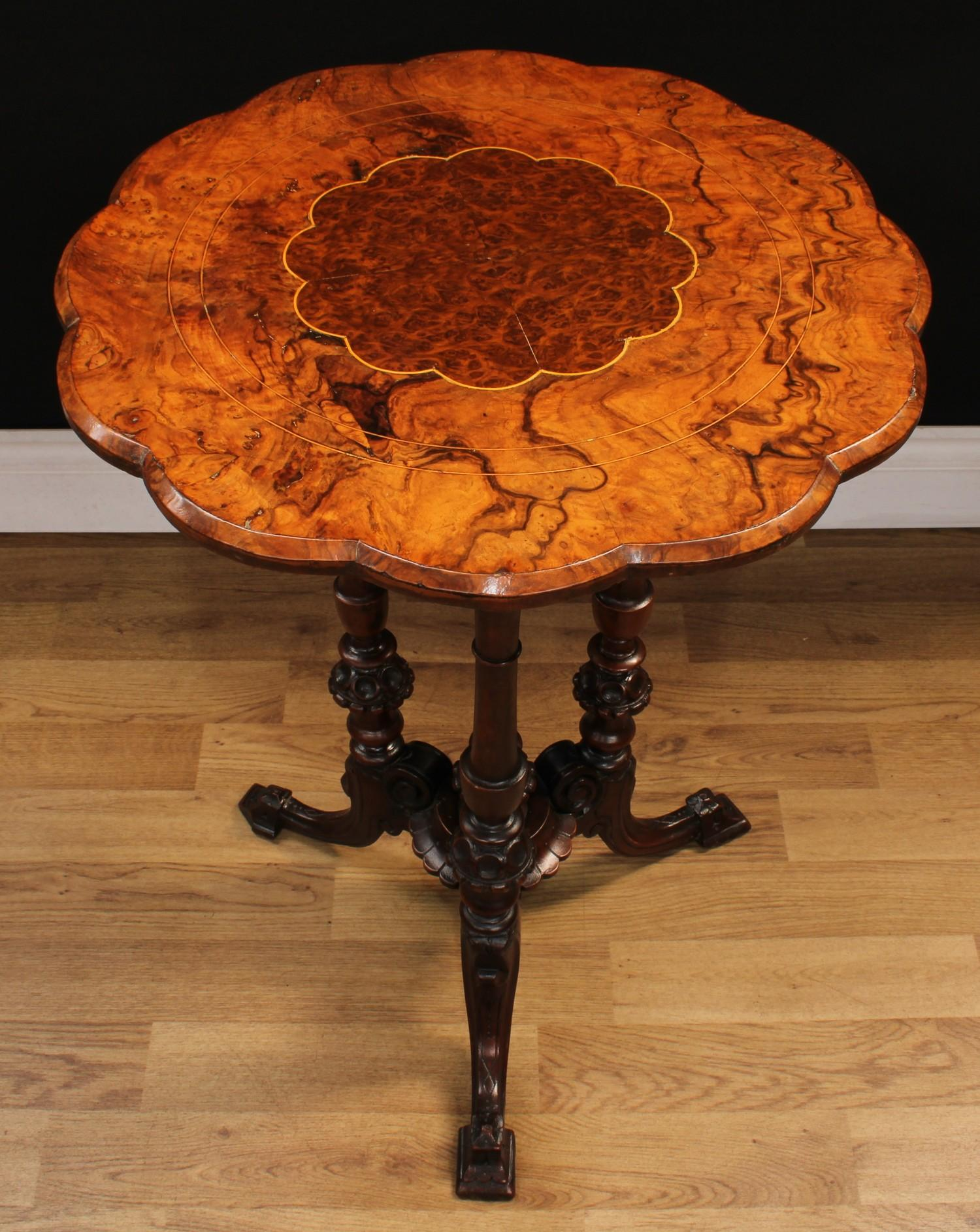 A Victorian walnut and mahogany wine table, rounded dodecagonal top centred by a conforming burr - Image 2 of 3