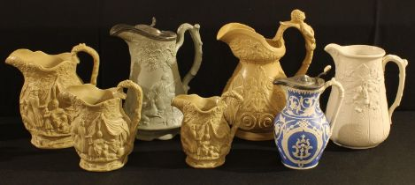 A mid 19th century relief moulded jug, Edward Walley, moulded in green with hunting scene and