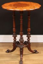 A Victorian walnut and mahogany wine table, rounded dodecagonal top centred by a conforming burr