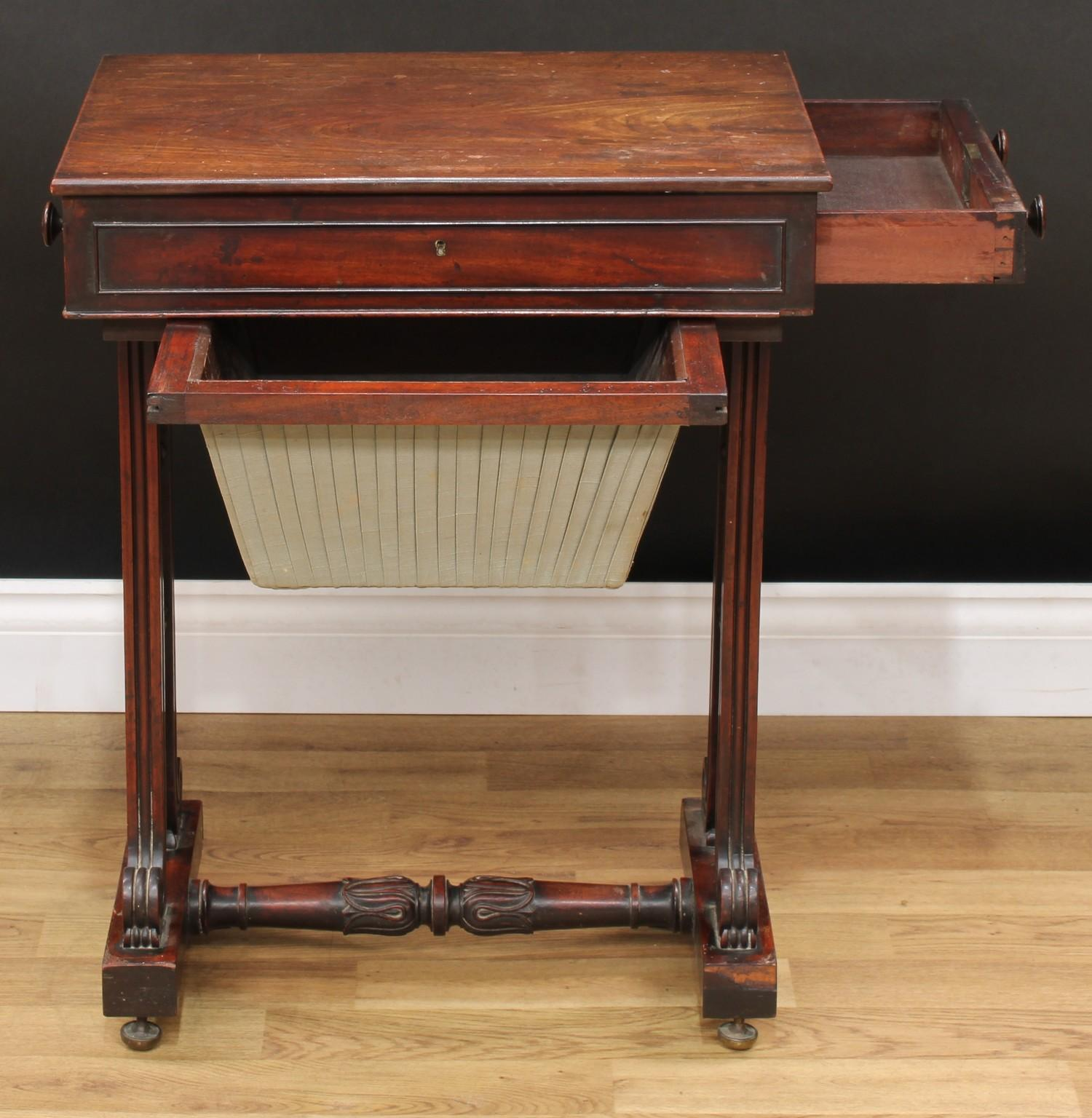 A William IV mahogany work table, rectangular top above a frieze drawer and a sarcophagus shaped - Image 3 of 7