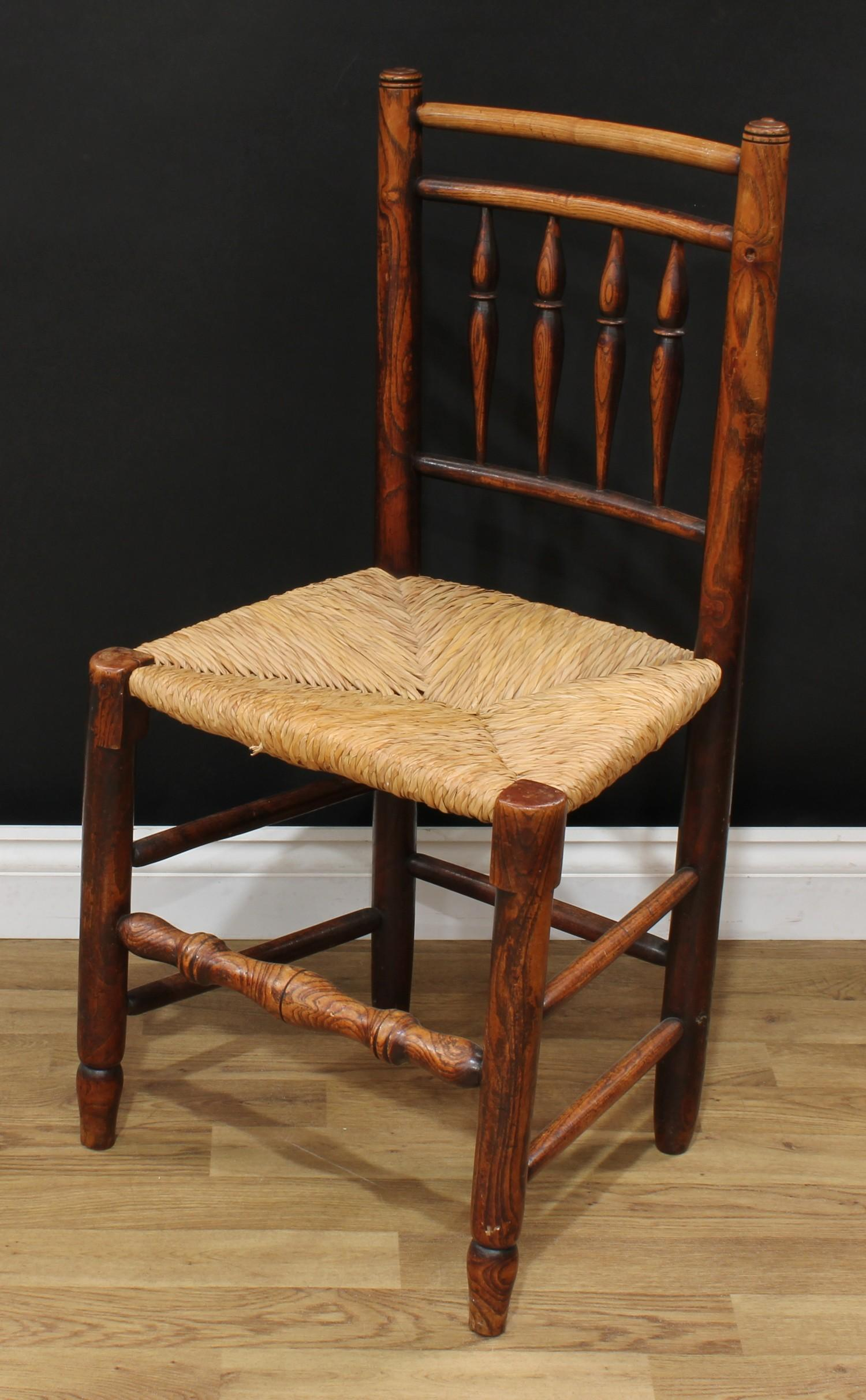 A late Victorian smoker's bow elbow chair, 80cm high, 65cm wide, the seat 38cm wide and 37cm deep; - Image 7 of 7