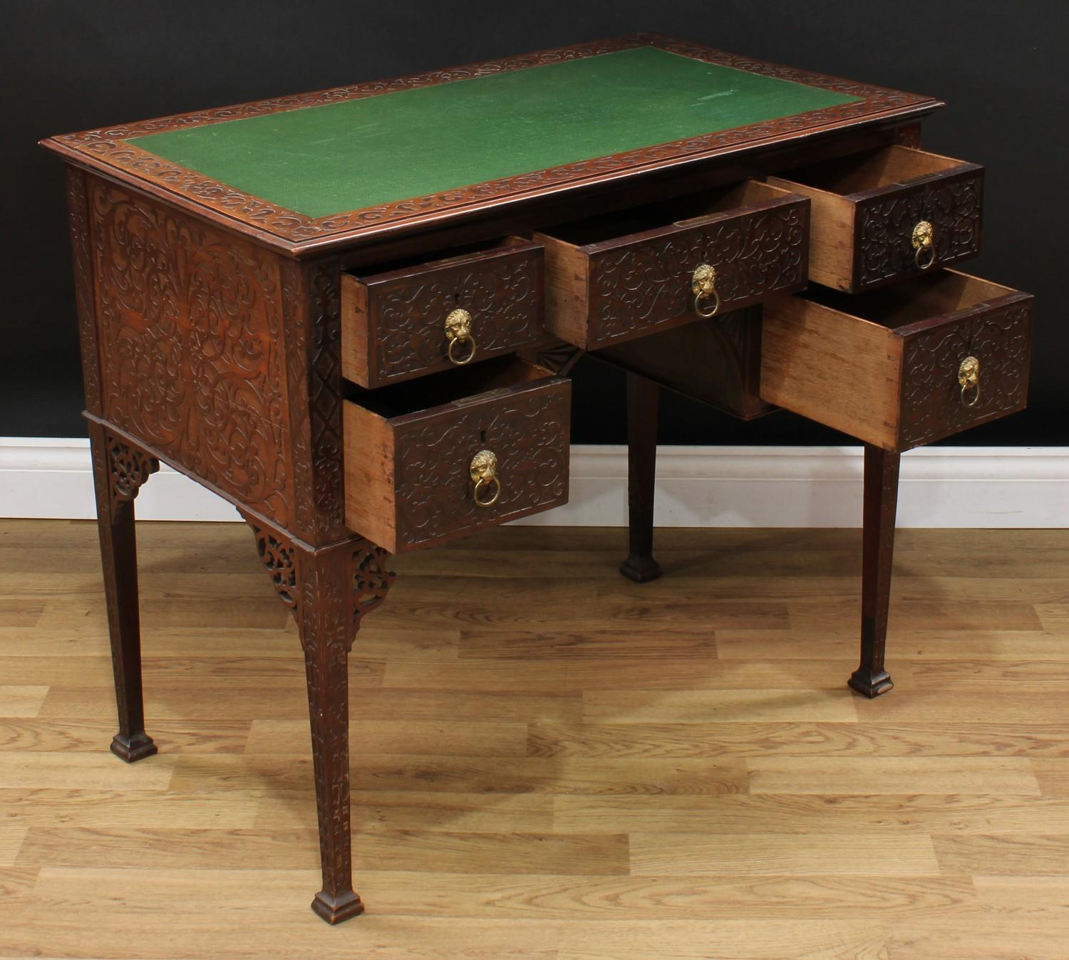 A Chinese Chippendale Revival room centre writing table, rectangular top with inset writing surface, - Image 3 of 4