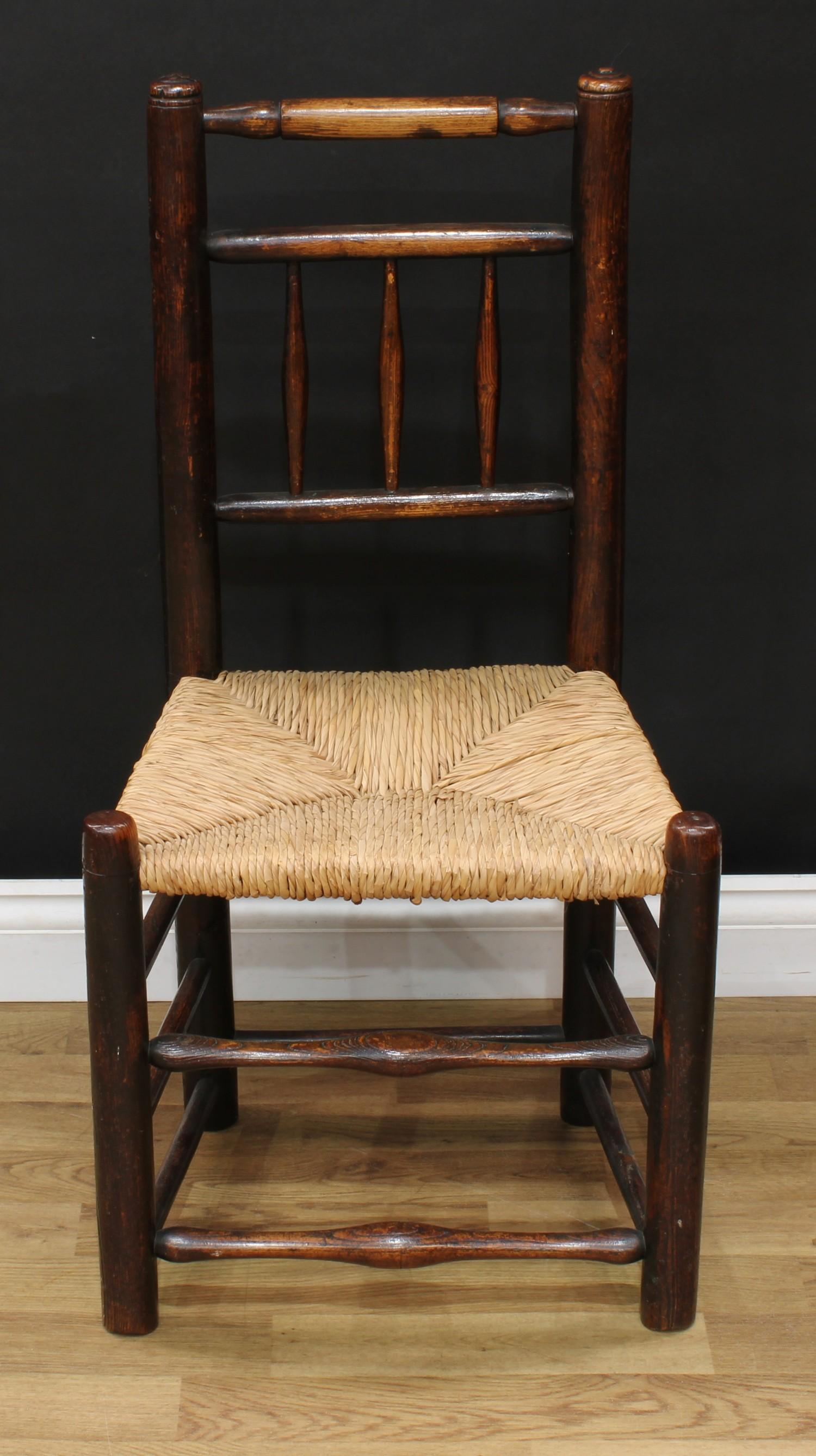 A late Victorian smoker's bow elbow chair, 80cm high, 65cm wide, the seat 38cm wide and 37cm deep; - Image 4 of 7