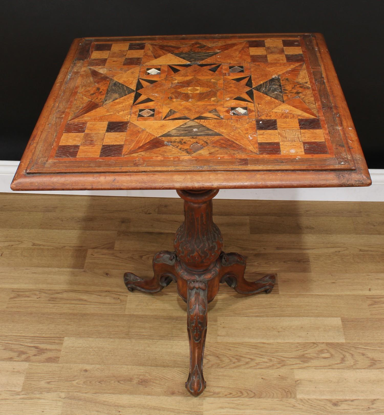 A Victorian parquetry occasional table, near-square top with moulded edge inlaid with geometric - Image 2 of 3